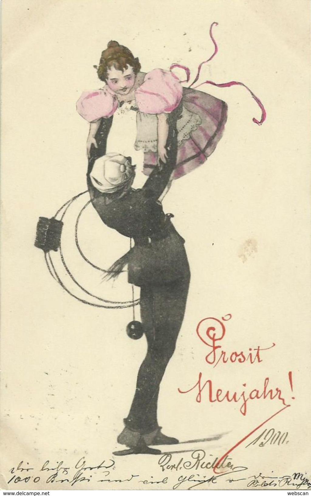 AK Neujahr Schornsteinfeger Kind Farblitho 1900 #102 - Anno Nuovo
