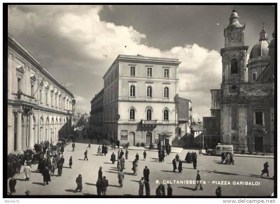 CALTANISSETTA PIAZZA GARIBALDI ANIMATISSIMA FURGONCINO CAFFE´ TORRISI 1953 - Caltanissetta