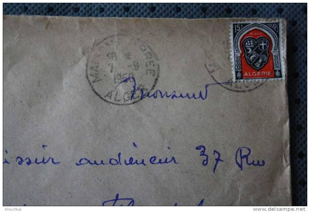 LETTRE  PAR AVION => MAISON CARREE ALGER    ALGERIE EX COLONIE FRANCAISE 1950 P/ FLERS CACHETS MANUELS - Algeria (1924-1962)