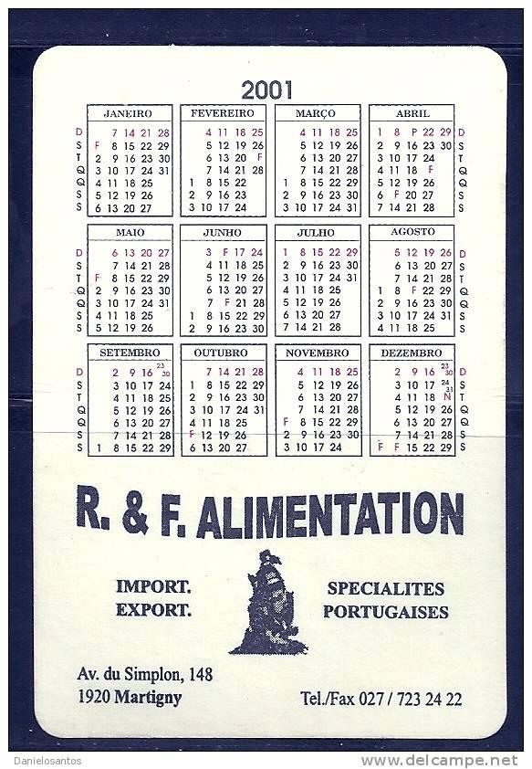 2001 Pocket Poche Bolsillo Bolso Calendar Calandrier Calendario Portugal - Calendars