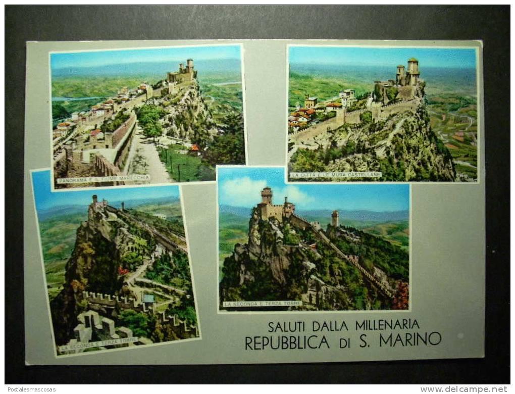 8414 REPUBLICA DE SAN MARINO SALUTI DALLA MILLENARIA POSTCARD AÑOS 60/70 - TENGO MAS POSTALES - San Marino