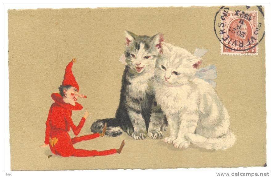 FANTAISIE - Chat - Deux Chatons Jouant Avec Un Pantin - Dessin(1727)mx - Cats
