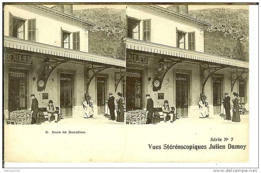 CPA  BEAULIEU SUR MER, La Gare, Vue Stéréoscopique  0448 - Beaulieu-sur-Mer