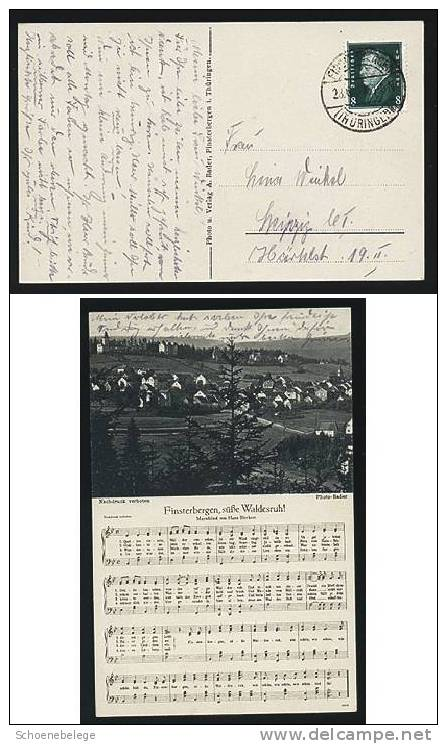A255) Finsterbergen Ansichtskarte S/w 1930 Liedtext Thüringen - Sonstige