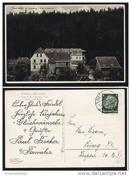 A256) Pfarrmühle Bei Eisenberg Mühltal 1937 S/w Karte - Eisenberg
