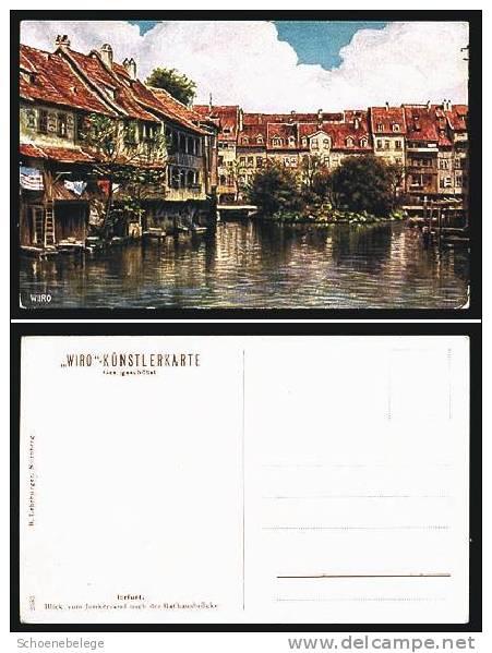 A263) Erfurt WIRO-Künstlerkarte 1920 Farbig Junkersand Rathausbrücke - Erfurt