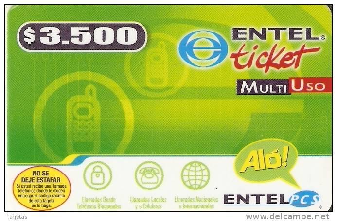 TARJETA DE CHILE DE ENTEL DE $3500 - Chile