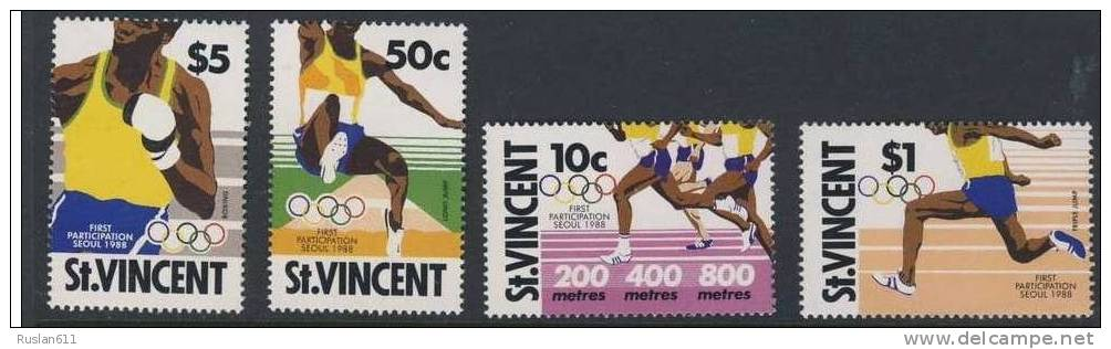 Olympic Games St. Vincent 1988 #1130/3 Seoul MNH ** Boxe - Zomer 1988: Seoel