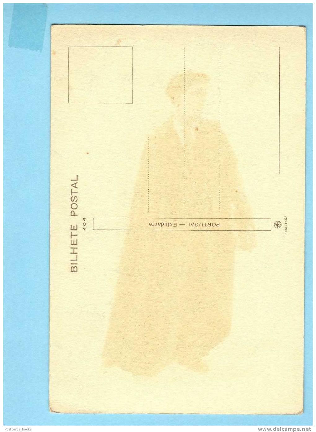 ALBERTO SOUZA / ESTUDANTE /STUDENT Coimbra - Costume. 1935 Vintage Postcard PORTUGAL Artist Signed - Coimbra