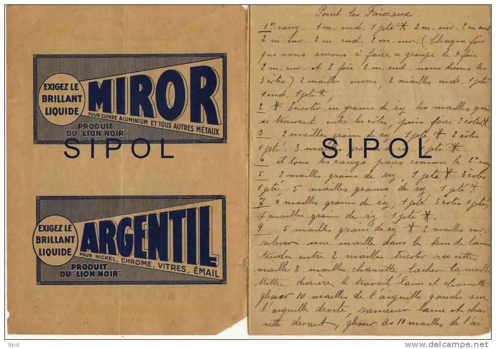Cahier Publicitaire Lion Noir  Renfermant 7 Modèles De Points De Tricot, Manuscrits Années 1934 - Wool