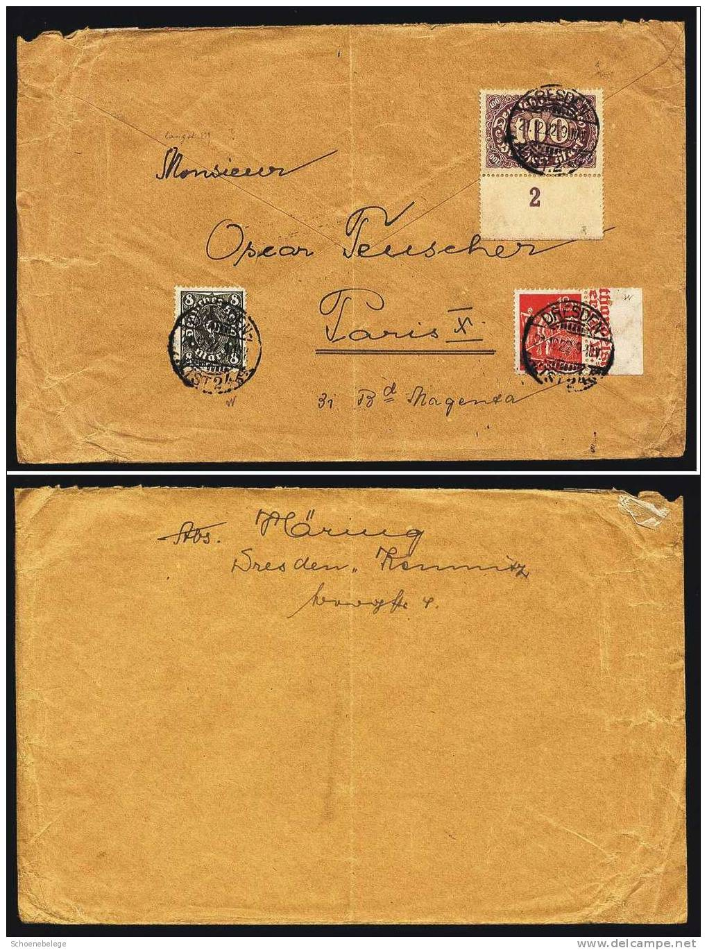 A285) DR Infla Brief Dresden 21.12.1922 N. Paris / France 2 Randstücke ! - Briefe U. Dokumente