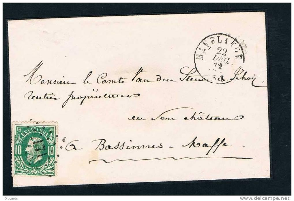 """Belgique 1872 Lettre Affr. N°30 Lpts 171 """"HAVELANGE"""". - 1869-1883 Léopold II"""