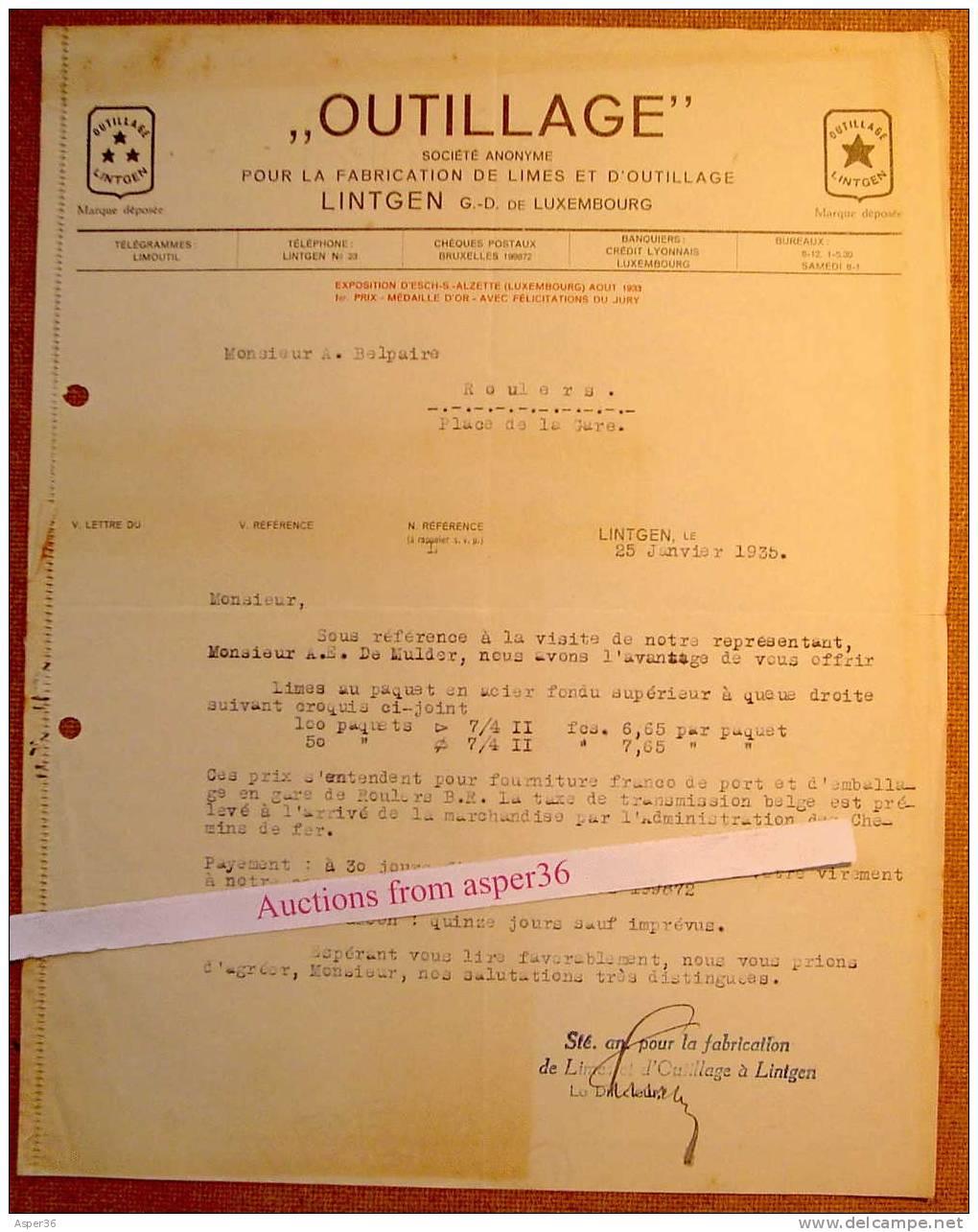 Outillage, Lintgen 1935 - Luxemburgo