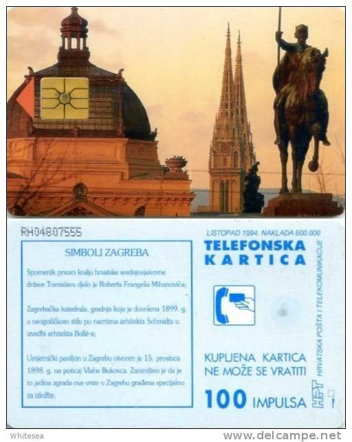 Telefonkarte Kroatien - Werbung  - Symbole Zagrebs - 100 Units - Kroatien