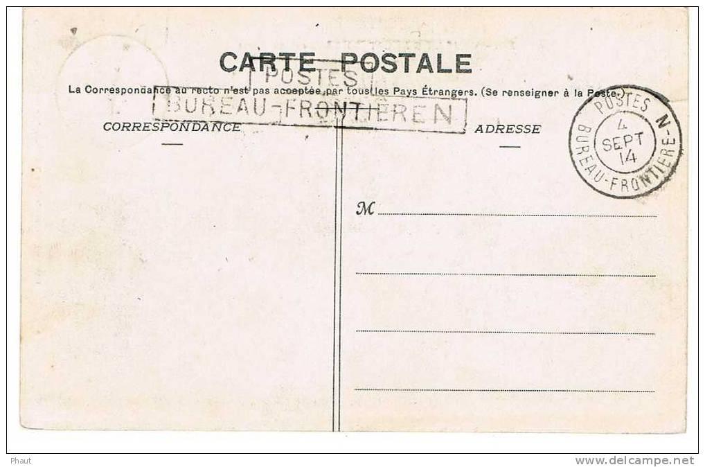 CAD POSTES BUREAU FRONTIERE N + TAMPON SUR CPA NON CIRCULE - Marcophilie (Lettres)