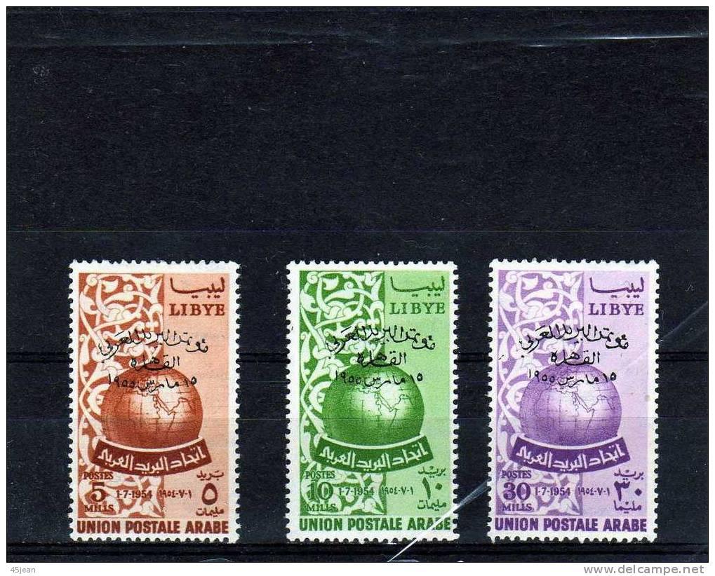 Libye: 1955 Y&T N° 157-159 N* Union Postale Arabe Surchargéstrès Légères Charnières - Libya