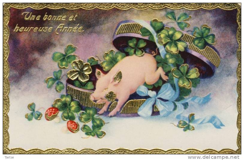 Superbe Carte Décoréde Brillants Avec Un Cochon( Voir Verso ) - Cochons