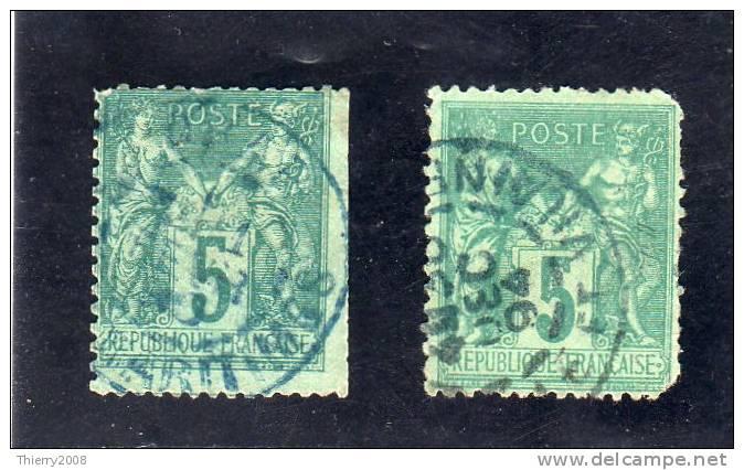 Sage  N° 75  Avec Oblitèration Cachet à Date Bleu (2 Timbres)  TB - 1876-1898 Sage (Type II)
