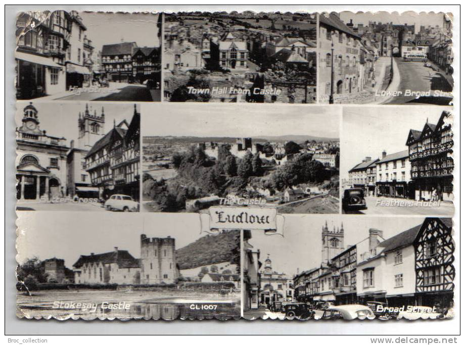 Ludlow - 8 Vews - 1958 - High Street, Town Hall From Castle, Lower Broad Street, Butter Cross, Feathers Hotel, Stokesay - Shropshire
