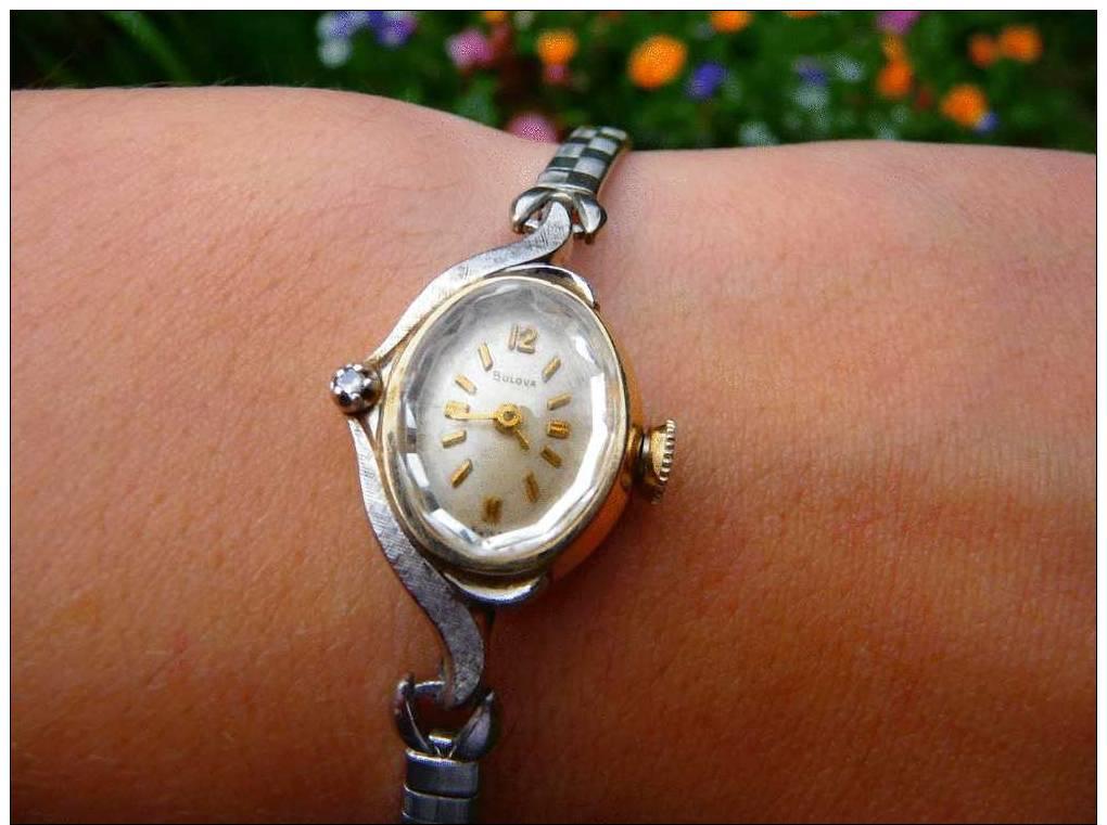 Ancienne Montre Pour Dame, Or Et Argent Art Déco - Vintage Ladies BULOVA Two Tone GOLD & DIAMOND Watch -M0 - Horloge: Juwelen