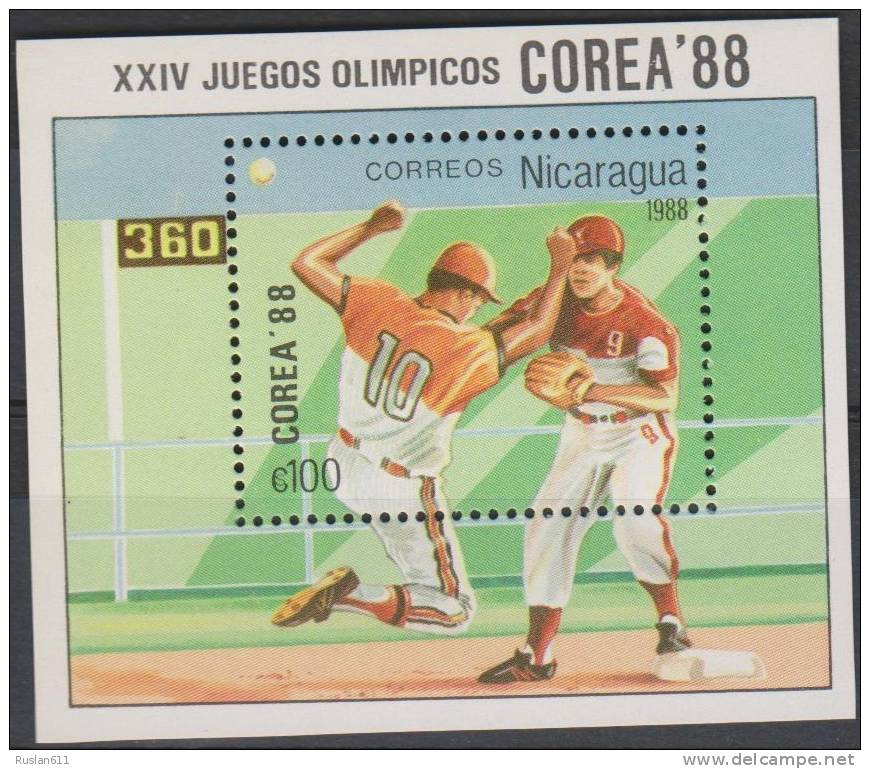 Olympic Games 1988 Nicaragua Bl 177 Seoul MNH ** Baseball - Summer 1988: Seoul