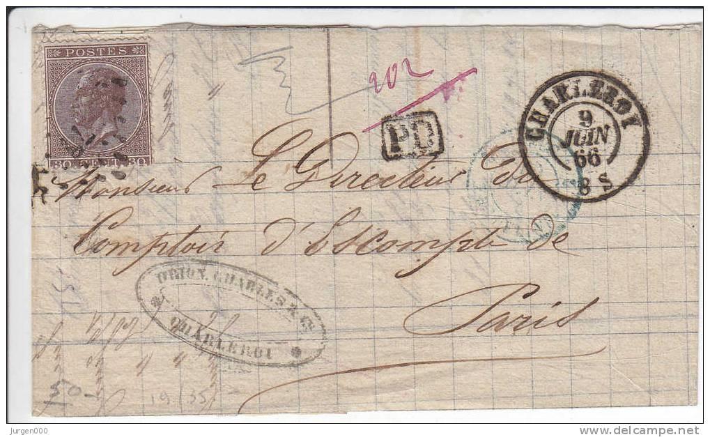 Nr 19, Brief Van Charleroy Naar Paris, PD (4025) - 1865-1866 Linksprofil