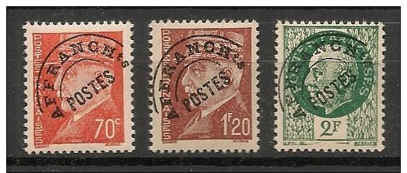 Préoblitérés N°84 à 86 Pétain - Série Complète - Neuf Luxe ** - 1893-1947