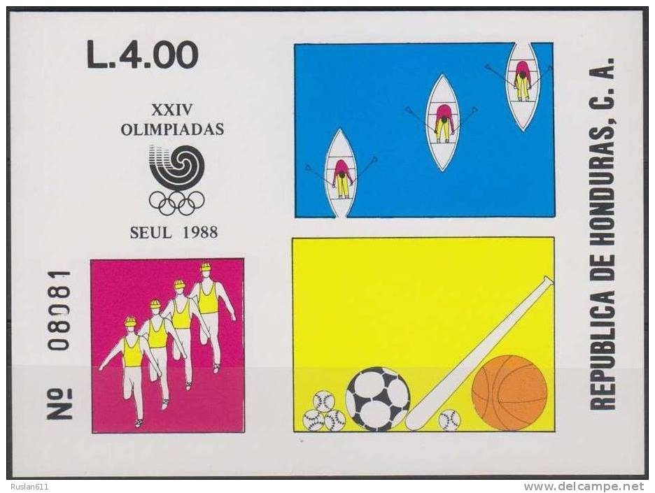 Olympic Games 1988 Honduras Bl 41 Seoul MNH ** Soccer - Summer 1988: Seoul