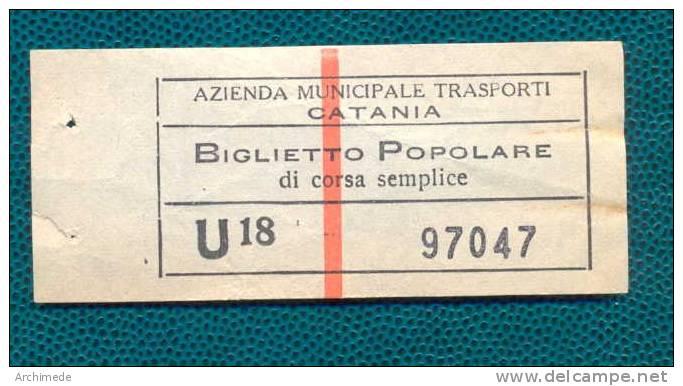 AZIENDA MUNICIPALE TRASPORTI CATANIA - BIGLIETTO POPOLARE CORSA SEMPLICE - Bus