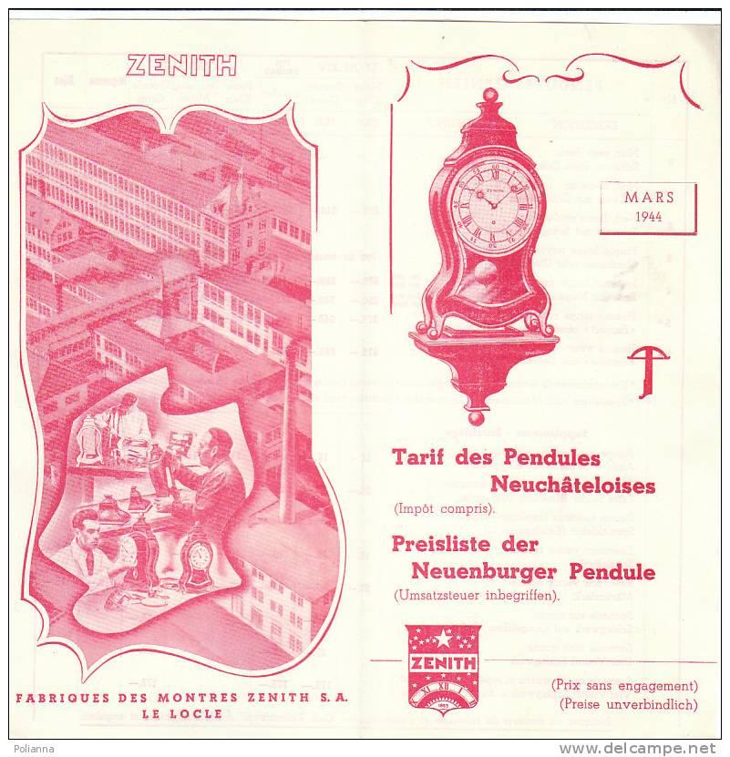 B0383 Listino Prezzi - Tarif  OROLOGI - PENDOLE ZENITH 1944 - Orologi Antichi