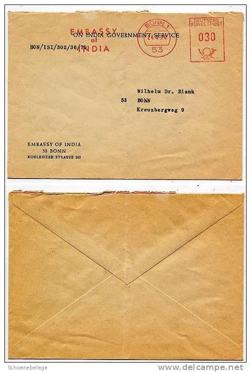 A337) Bund Brief Von Indischer Botschaft 1970 Nach Bonn ! - Briefe U. Dokumente