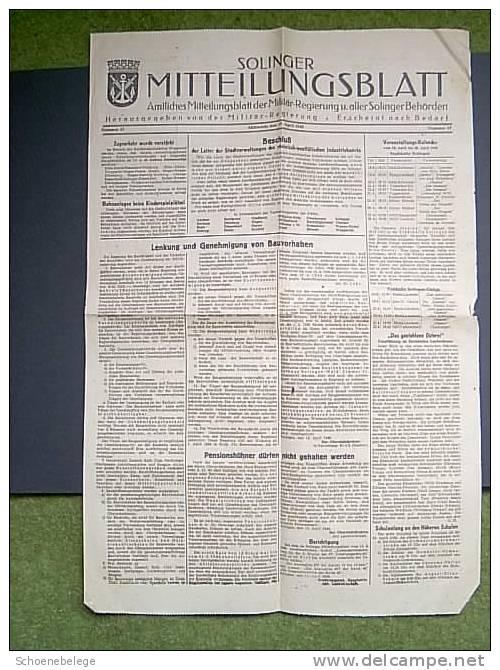 A351) Solinger Mitteilungsblatt V. 17.4.1946 Zeitung !! - Politik & Zeitgeschichte