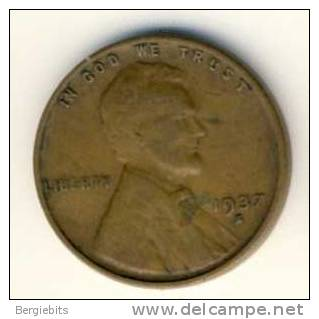 1937 S   United States Lincoln Head Penny - 1909-1958: Lincoln, Wheat Ears Reverse