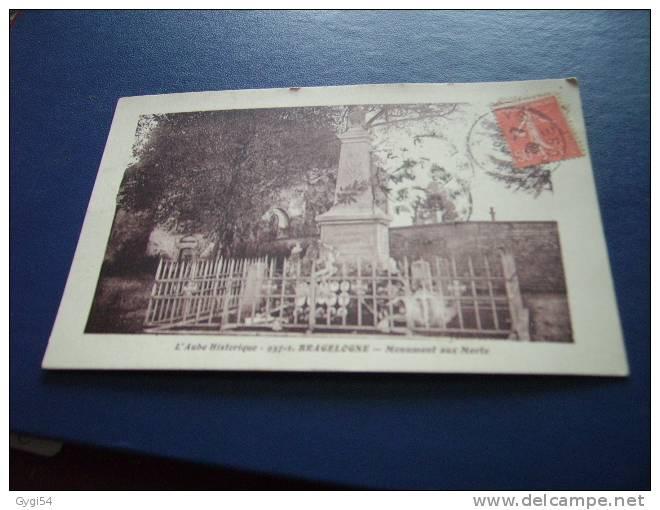 CPA AUBE BRAGELONNE MONUMENT AUX MORTS - Monuments