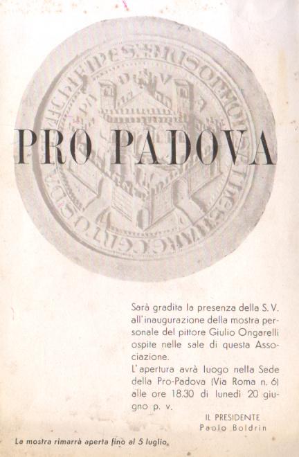 PADOVA - 1950/55 - PIEGHEVOLE ASS. PROPADOVA - ARTE -  Pitture Giulio Ungarelli - Programas