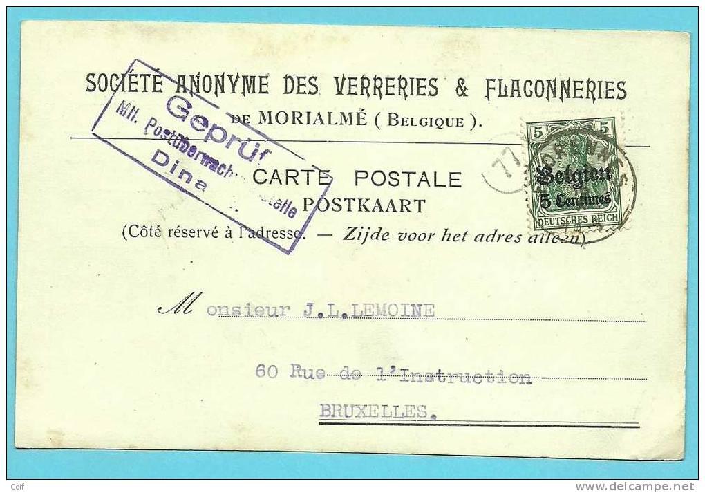 """BZ2 Op Kaart Met Stempel FLORENNES Met Hoofding """"VERRERIES & FLACONNERIES De MALONNE"""" - WW I"""