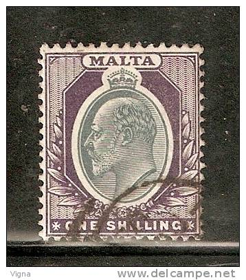 MA038 - MALTA - : Unificato N. 24 - Usato - Effige Di Edoardo VII - Malta