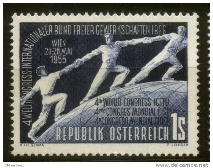 Österreich 1955, ANK 1027, Weltkongress Der Gewerkschafter, Postfrisch ** - 1945-60 Ungebraucht