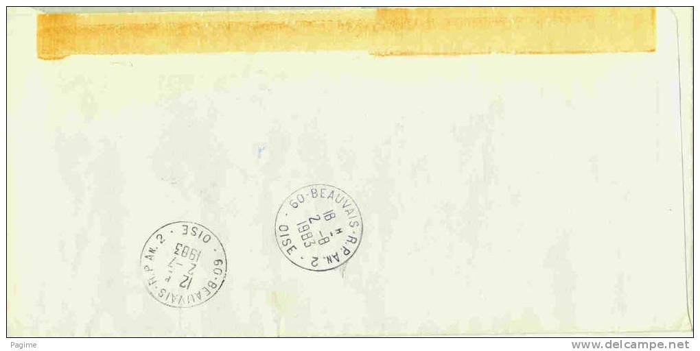 Lettre Avec Taxe - Cachet Rouge Beauvais RP Annexe Au Verso - Lettres Taxées