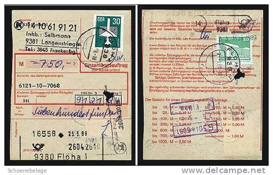 A368) DDR Einzahlungsauftrag Flöha 1989 M. Mi.2751 Money Order - DDR