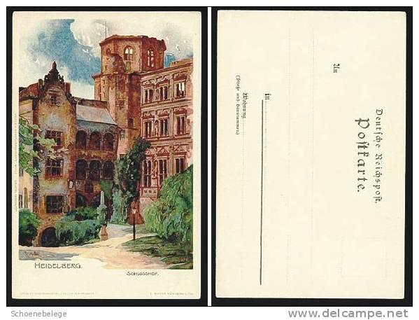 A372) Heidelberg Künstler-Ansichtskarte Schlosshof Um 1910 Ungebraucht - Heidelberg