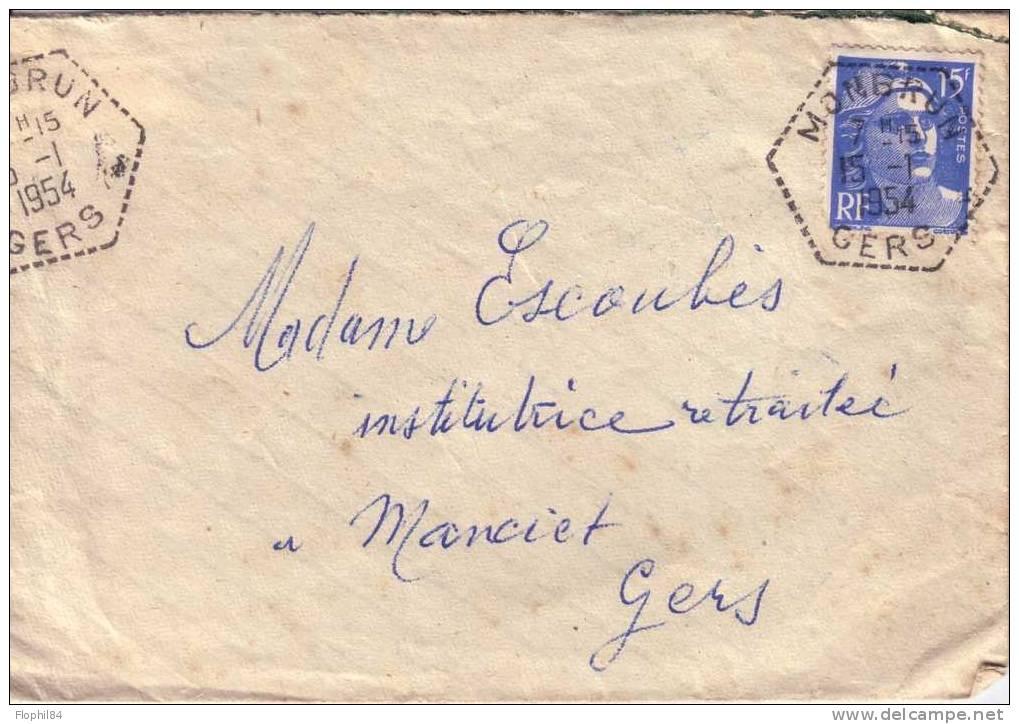 GERS-MONTBRUN 15-1-1954 SUR 15c GANDON - Postmark Collection (Covers)