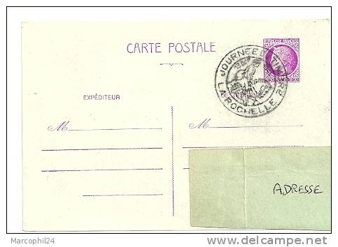 CHEVAL + POSTE ANCIENNE = 17 LA ROCHELLE 1945 = CACHET JOURNÉE Du TIMBRE Illustré D´un Cavalier / - Chevaux