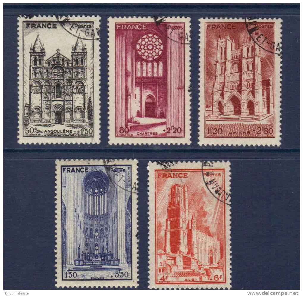 France  Cathedrales  N°663 A 667    Oblitéré - Gebraucht