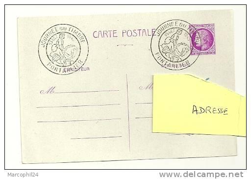 CHEVAL + POSTE ANCIENNE = 25 PONTARLIER 1945 = CACHET JOURNÉE Du TIMBRE Illustré D´un Cavalier / - Chevaux