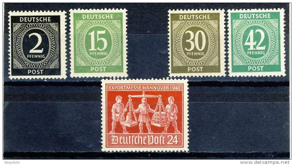 5 Old MNH Stamps From Germany, Including The Very Scarce 42 Pfg Posthorn - American/British Zone