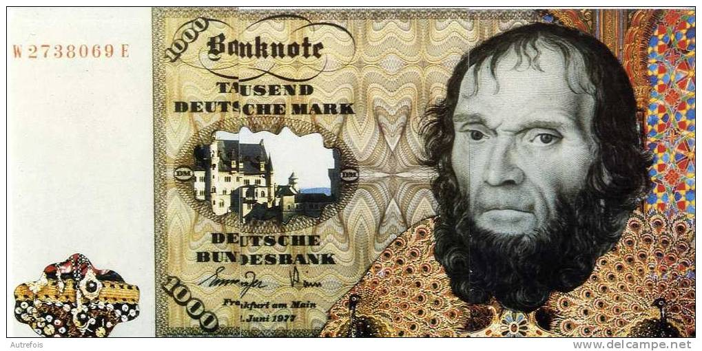 1000 MILLE DEUTSCHE MARK  ALLEMAGNE   -  PUZZLE DE 3 CPM  -  CREATION PAUL PASTOR - Monnaies (représentations)