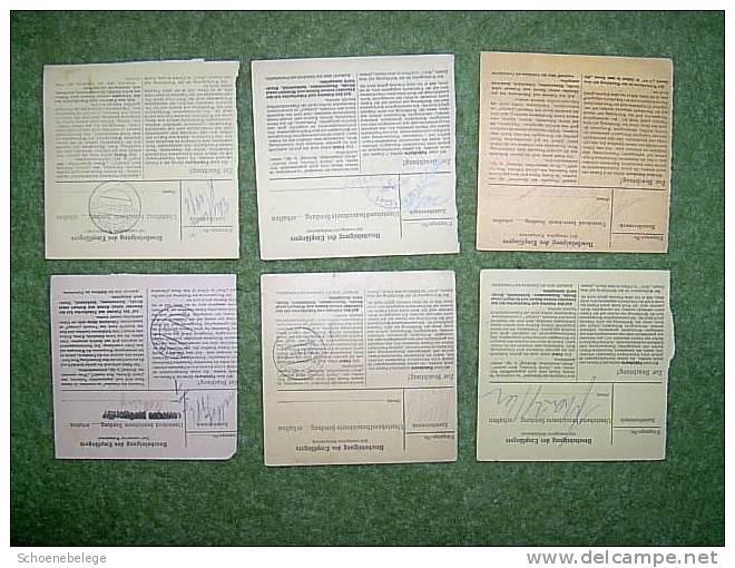 A416) Luxemburg 6 Paketkarten Aus 1943-1944 Teils Mit EF - Besetzungen 1938-45