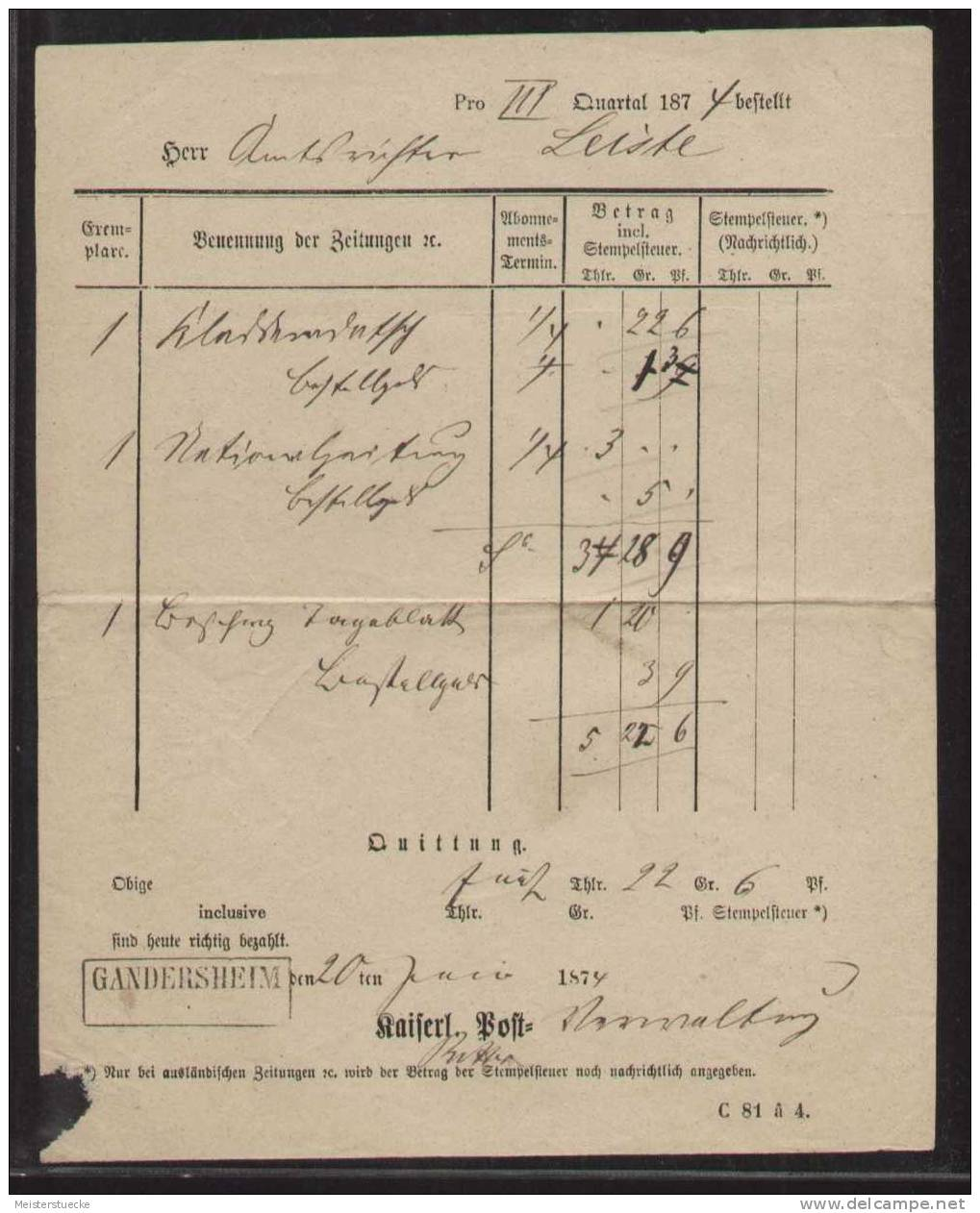 Zeitungsgeld-Quittung Vom 20.6.1874 Mit Rahmenstempel GANDERSHEIM - Deutschland