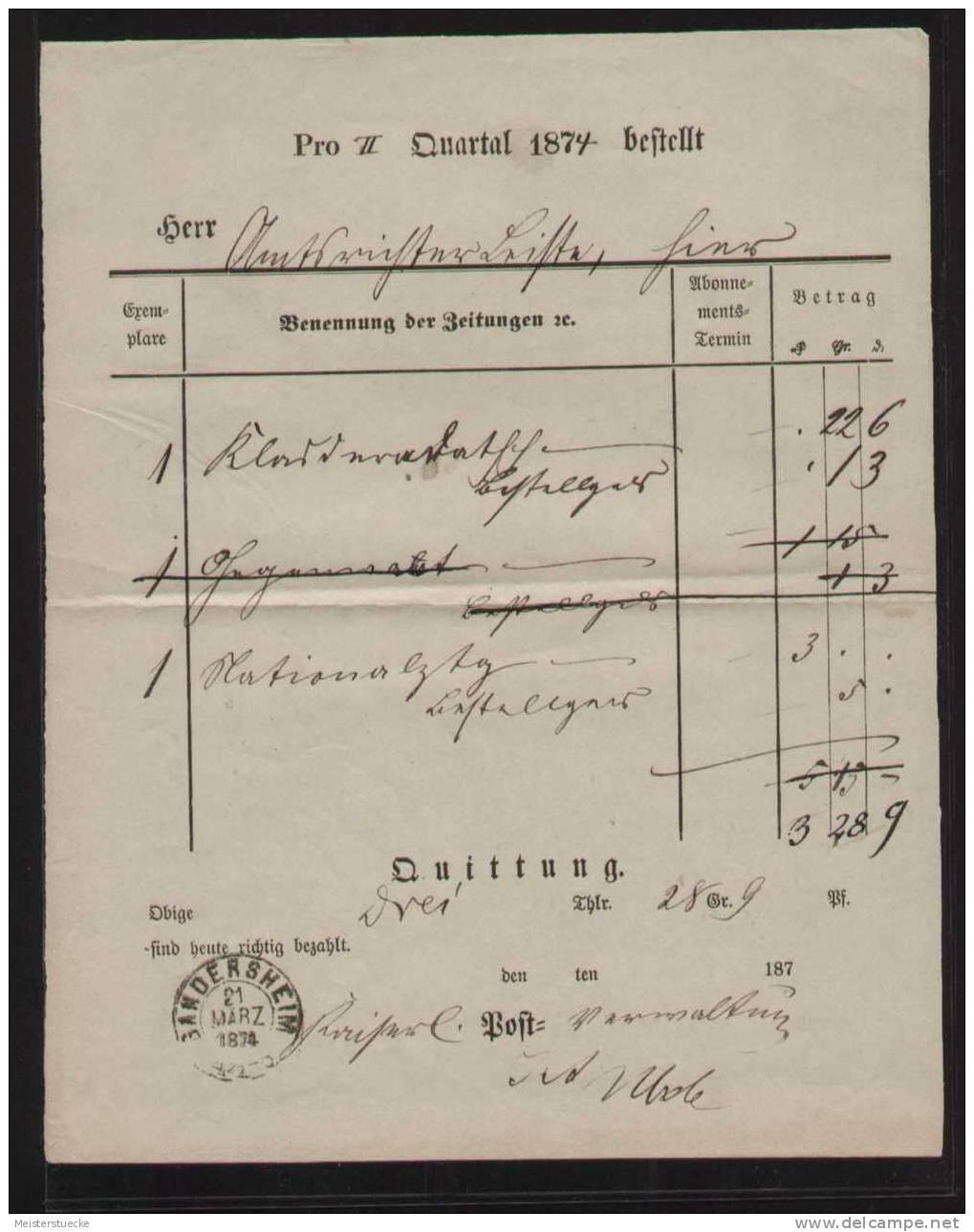 Zeitungsgeld-Quittung  Mit Zweikreisstempel GANDERSHEIM Vom 21.3.1874 - Deutschland